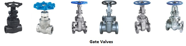 Cast iron, steel and stainless industrial gate valves.