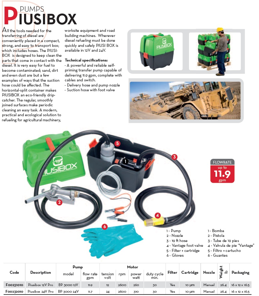 Piusi Piusibox Diesel Fuel Transfer Kit Pump Filter For Transfering In The Field Or On Job