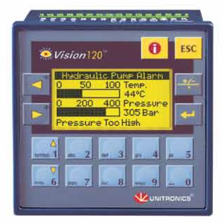 Unitronics V120 Panel Full-function PLC with built-in, monochrome graphic LCD display, keypad & onboard I/O configuration, expand up to 256 I/Os.