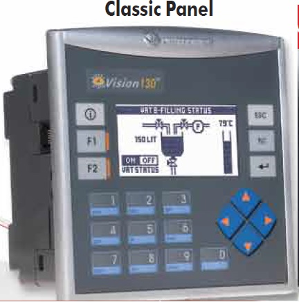 Unitronics Vision V130 Classic Panel Palm-size, powerful PLC with built-in, black & white graphic display, keypad & onboard I/O configuration, expand up to 256 I/Os. Includes an onboard I/O configuration; expand up to 512 I/Os.