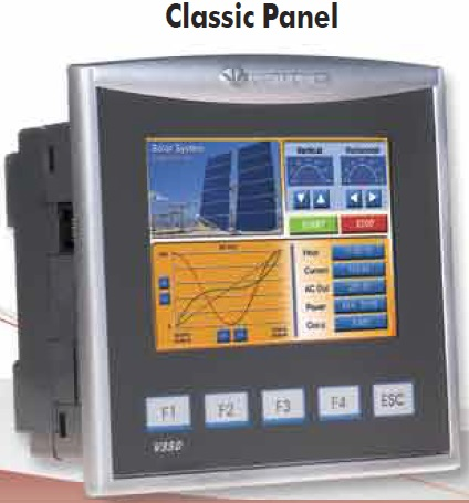 "Unitronics V350 Classic Panel Advanced PLC with a 3.5"" color touchscreen. Includes an onboard I/O configuration; expand up to 512 I/Os"