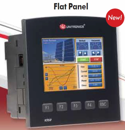 "Unitronics V350J Flat Panel Advanced PLC with a 3.5"" color touchscreen. Includes an onboard I/O configuration; expand up to 512 I/Os."