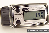 GPI A1 Series commercial grade meters with self-contained turbine and LCD display available in nylon and aluminum
