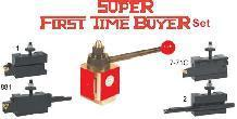 Super First Time Buyer's Set Includes: (1) Tool Post, (1) #1 Holders, (1) #2 Holder, (1) #7-71C Holder, (1) #881 Holder and the following free tooling:1 EA - STNCR08-2J, STCMB06-2, SGIH19-2, NL50/75R  All tool Holders include inserts.
