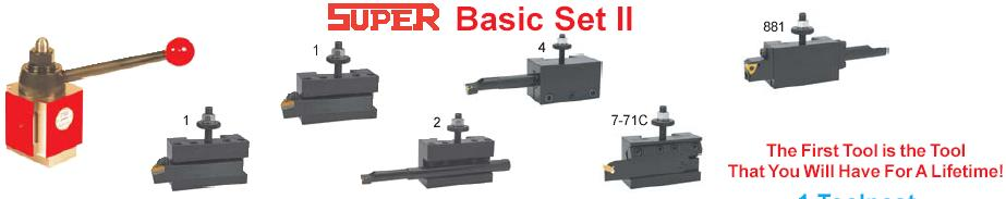 Super Basic Set II - Includes:7 pc. Set; (1) Tool Post, (2) #1 Holders, (1) #2 Holder, (1) #4 Holder, (1) #7-71C Holder, (1) #881 Holder