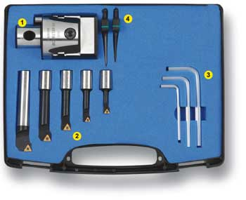 """Techniks Pinzbohr Techniks BohrSTAR 43 Rhombic Boring Tool Kit, 8mm-100mm (.314""""-1.692"""") including Accu-Set dial, 4 boring bars, 1 adapter plate with cartridge, 4 hex and 3 Torx wrenches, carrying case and 7 coated  inserts.  Tool holder is purchased sepa"""