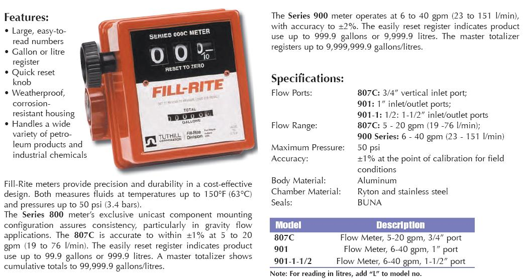 """Fill-Rite Flow Totalizer / Flow Meter 6-40 gpm, 1-1/2"""" port"""