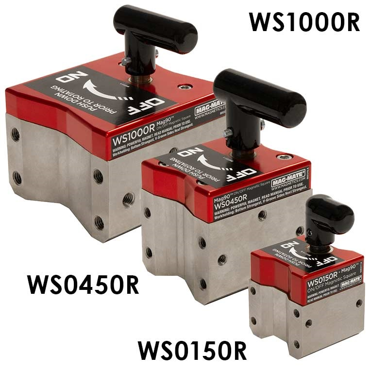 "Mag90 -On-Off Square 1000 lb Flat-500 lb Round 4-3/4"" height x4"" wide x 4-1/4"" Long,3/8-16 Tap, Weight 10.45 lb Part No. WS1000R"