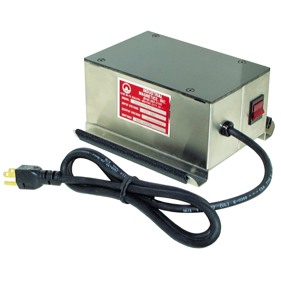 Demagnetizer, Continuous Duty Surface Type, 6-1/4 x11-1/4 For stationary or portable use for continuous duty operation.  Design allows for installation under, over or  alongside conveyors with durable on-piece face plate and ON/OFF switch. 4-15/16