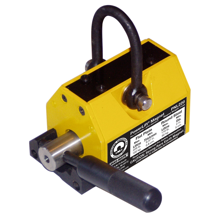 """PowerLift 2200 Magnet 1100 lb pull (2"""" minimum thick plate, 5"""" minimum diameter rounds), 12-5/8"""" long x 7-1/8"""" wide x 8-7/8"""" ht. Designed for thick, non-flexing materal. For use on flat or round surfaces and contain an internal release ON/OFF device that"""