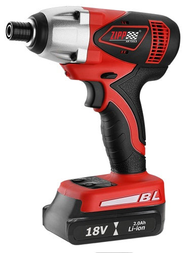 "ZIPP 18V Cordless Impact Driver  . Model No. ZCID18BL featuring 3 Stage impact power selection, Automatic shut off power function, 1/4"" (6.35mm) hex drive shank chuck, Variable speed reversible switch with electric brake, High output impact transmission,"