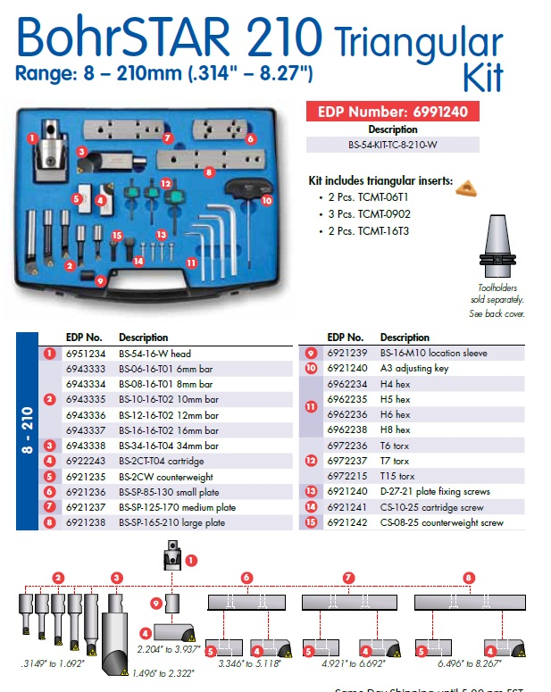 "Techniks Pinzbohr Techniks BohrSTAR 210 Triangular Boring Tool Kit, 8mm-100mm (.314""-3.94"") including Accu-Set dial, 6 boring bars, 1 adapter plate with cartridge, 4 hex and 3 Torx wrenches, carrying case and 7 coated TCMT inserts.  Tool holder is purchas"