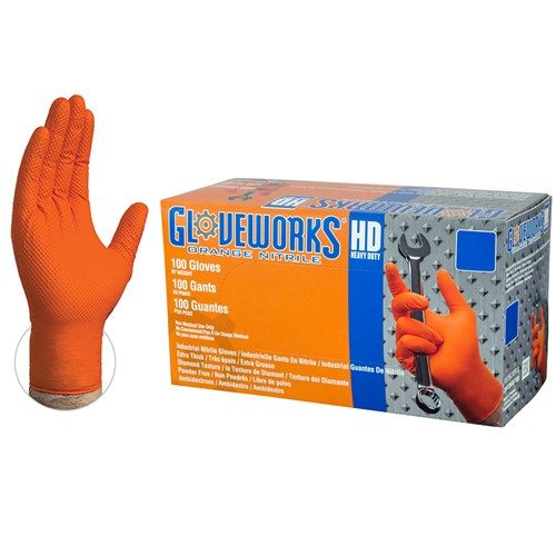 8 mil GloveWorks Heavy Duty Powder Free Orange Nitrile, Size XL  (1,000 gloves)