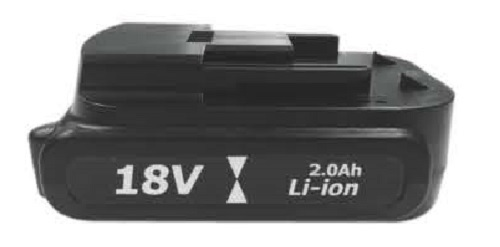 ZIPP 18V Cordless Tool Battery  . Model No. BL18-20LI-3, 3 Tool Pack   18V 2.0Ah Li-ion.  106mm L x 70mm W x 46mm H.  Charger Time 105 min.  Weight 0.35kg (0.77lb.)