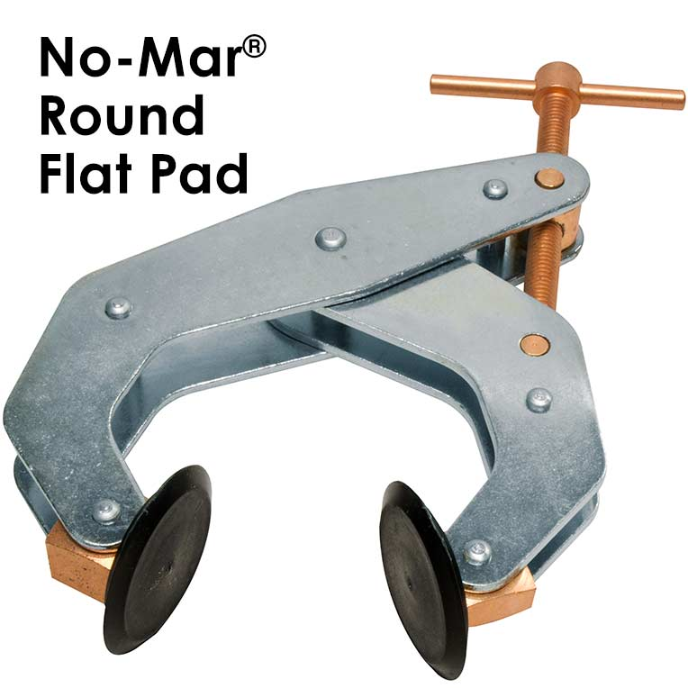 "Kant-Twist No-Mar Round Flat Pad 2-1/2""Jaw, T-Handle Cantilever Clamp 1-3/8"" Thk Part No. K025TPD"