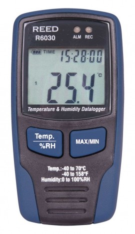 REED R6030-NIST TEMPERATURE & HUMIDITY DATALOGGER, LCD, -40/158