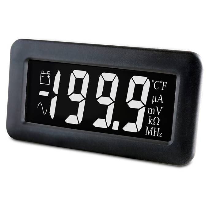 Lascar Electronics LCD Voltmeter with White Digits on a Black Background, LCD Display