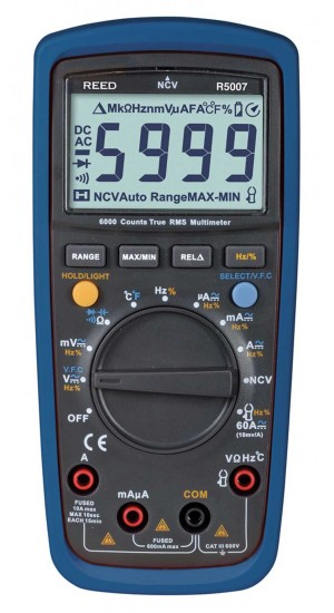 REED R5007-NIST True RMS Digital Multimeter with Non-Conltact Voltage Detector includes ISO Certificate