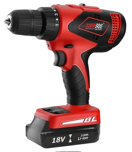 "ZIPP 18V Cordless Drill  . Model No. ZCD18BL-3 featuring 3-Speed setting, 2 speed gear transmission with selection switch, 16 torque settings 15 Drive + 1 Drill, 3/8"" (9.5mm) / 1/2"" (13mm) Keyless chuck, Variable speed reversible switch with electric brak"