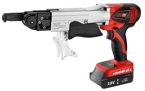 """ZIPP 18V Cordless Screwdriver  . Model No. ZCSFD18BL-3, 3 Tool Pack featuring  3 Stage impact power selection, Drive 1""""-2-3/16"""" (25mm-55mm) collated screws, Variable speed reversible switch with electic brake, Easy-to-drive making on adjustable nosepiece,"""